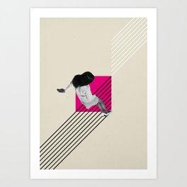 Geometric Falling Girl Graphic Art Print