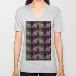 Colored-H-pattern Unisex V-Neck