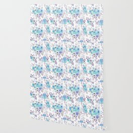 Lilac teal blue hand painted watercolor floral Wallpaper