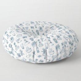 Blue Inky Cacti Floor Pillow