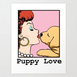 Puppy Love Comic Girl Pop Art Art Print