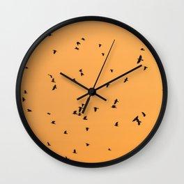 Birds in flight - orange abstract art Wall Clock