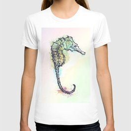 AP100 Watercolor sea horse T-shirt