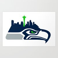 seahawks Art Prints featuring Seattle Seahawks Skyline by Ainslie Kellas