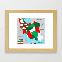 political map of Iran country with flag Framed Art Print