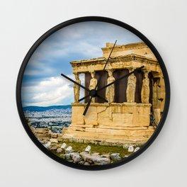 caryatids against dramatic sky, Athens, Greece Wall Clock