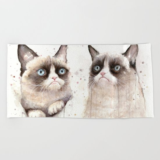 Grumpy Watercolor Cats Beach Towel