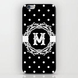 Black Monogram: Letter M iPhone Skin