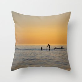 Water sports stand up paddling Throw Pillow