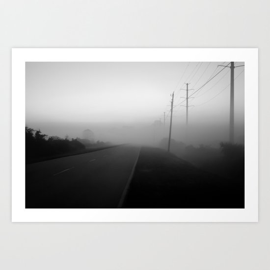 foggy street Art Print
