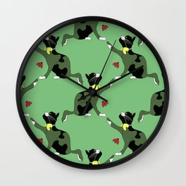 Cat and ladybug in green. Wall Clock