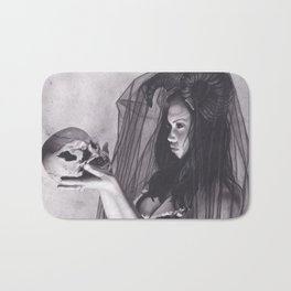 Realism Charcoal Drawing of Sexy Dark Queen in Veil with Skull Bath Mat