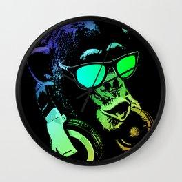DJ Monkey In Neon Lights Wall Clock
