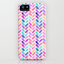 Rainbow Herringbone Watercolor Oblongs iPhone Case