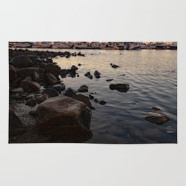 Beach Rocks at Sunset Scituate Harbor Rug