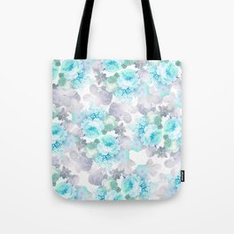 Modern teal gray chic romantic roses flowers Tote Bag