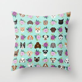 Dogs and cats pet friendly floral animal lover gifts dog breeds cat ladies Throw Pillow