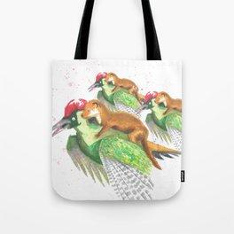Weasel Riding Woodpecker Gang Tote Bag