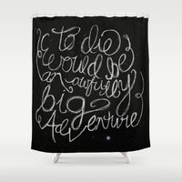 peter pan Shower Curtains featuring Peter Pan Quote by Megan Oliveri Designs