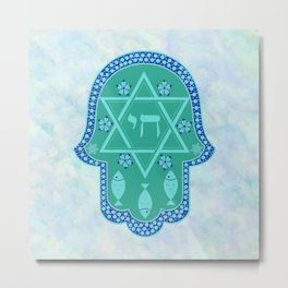 Hamsa for blessings, protection and strength - watercolor turquoise Metal Print