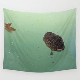 Peaceful Afternoon Siesta - duck napping on the water Wall Tapestry