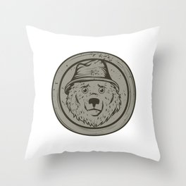 Cool Gift For The Smokey Bear Fan In Your Life T-shirt Design Of A Bear Wearing A Hat In Gray Tone Throw Pillow