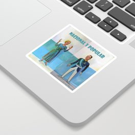 Evita y Juan Perón. Nacional y popular. Sticker