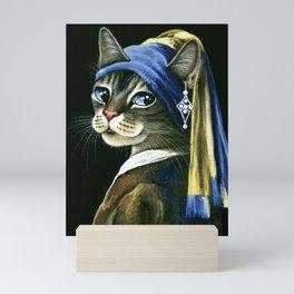 The Pearl Earing Cat Mini Art Print