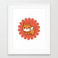 shiba Framed Art Prints featuring Shiba wings by Azul Piñeiro