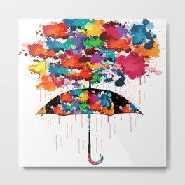Rainbow rainy day Metal Print