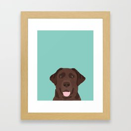 Chocolate Lab dog breed portrait pet art dog lover gifts labrador retriever Framed Art Print