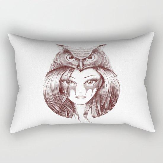 Owl Totem Girl Rectangular Pillow