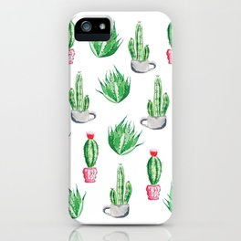 Pot plants with Cacti Pattern // Modern watercolor plants design iPhone Case