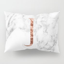 Monogram rose gold marble J Pillow Sham