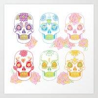 sugar skulls Art Prints featuring Sugar Skulls by Bird & Bow Studios