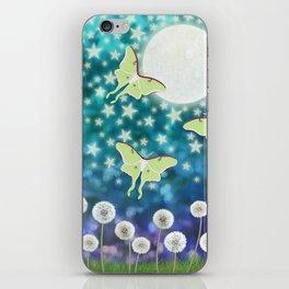 the moon, stars, luna moths, & dandelions iPhone Skin