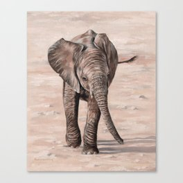 African Elephant Calf Painting Canvas Print