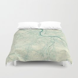Basel Map Blue Vintage Duvet Cover