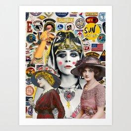 American Hollywood Actresses Vintage Digital Collage Graffiti   Art Print