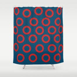 Fishman Donuts Red and Blue Shower Curtain