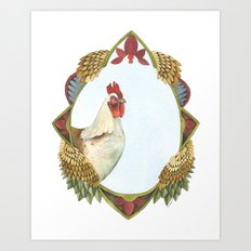 Quilted Forest // Charles the Chicken Art Print