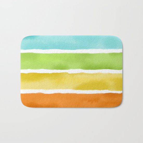 Watercolor Stripes Bath Mat