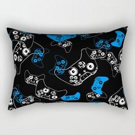 Video Game Blue on Black Rectangular Pillow