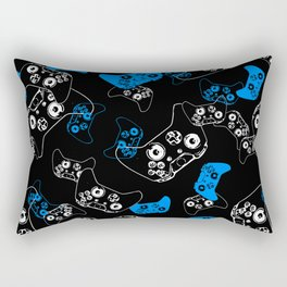 Video Game Blue on Black Rectangular Pillow