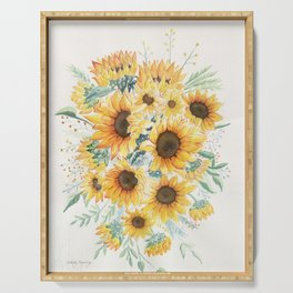 Loose Watercolor Sunflowers Serving Tray
