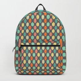 Midcentury Hexagon Argyle on Grey Backpack