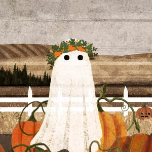 illustration of a ghost wearing a flower crown, in a pumpkin patch