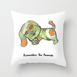 Remember The Animals Funny Dog Beagle T-Shirt (Animal Shelter & Rescue) Throw Pillow