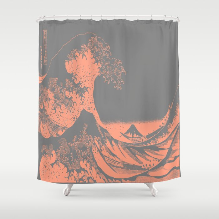 The Great Wave Peach Gray Shower Curtain