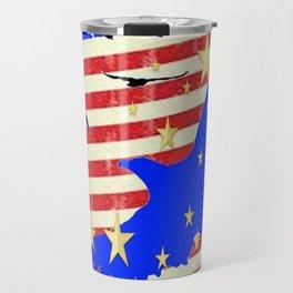 JULY 4TH PATRIOTIC BLUE EAGLE & STARS Travel Mug